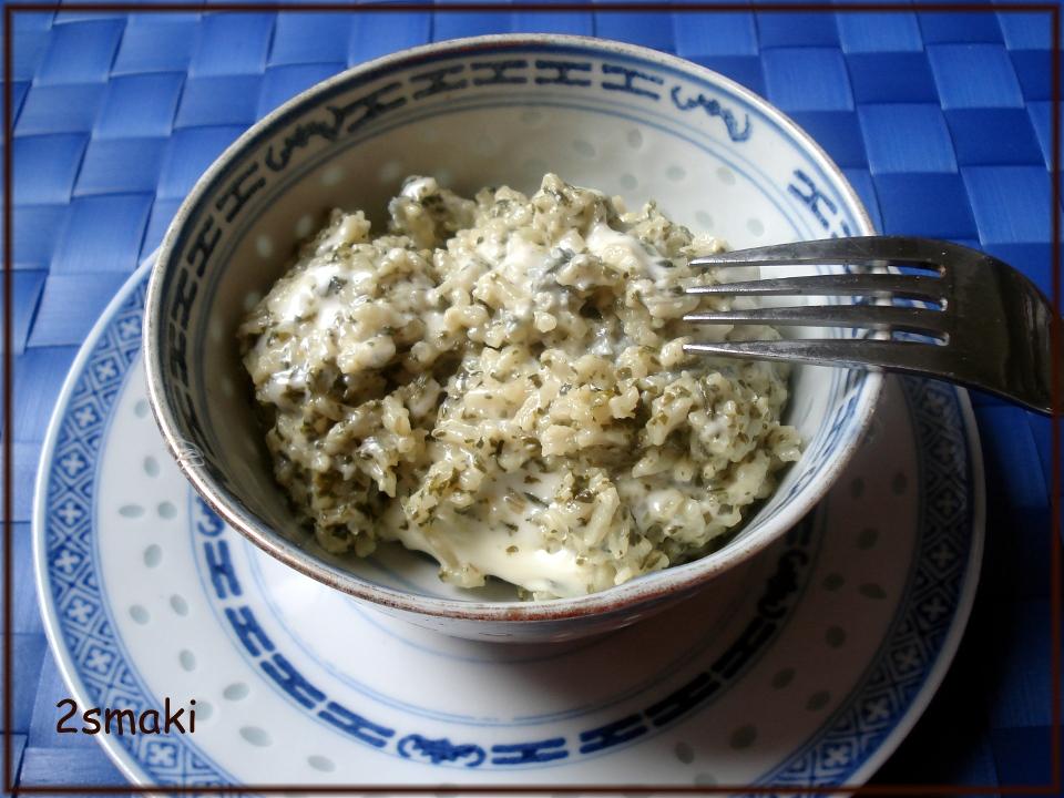 Babci Zosi Ryż ze szpinakiem i serem pleśniowym