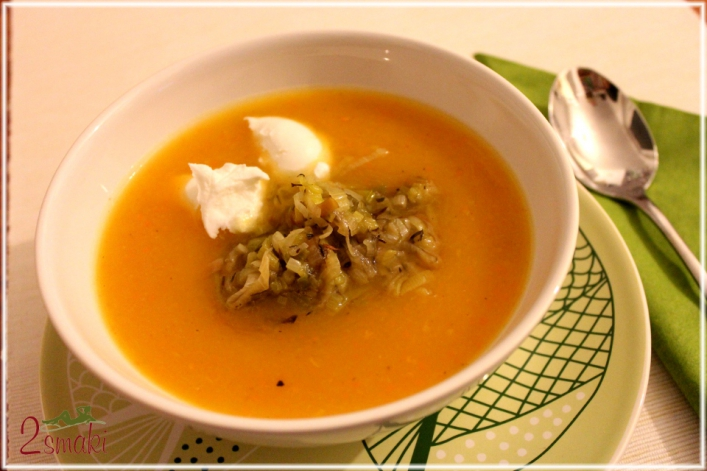 Zupa z dyni z dodatkiem karmelizowanego pora