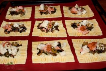 Minitarty francuskie z pieczarkami i łososiem 1