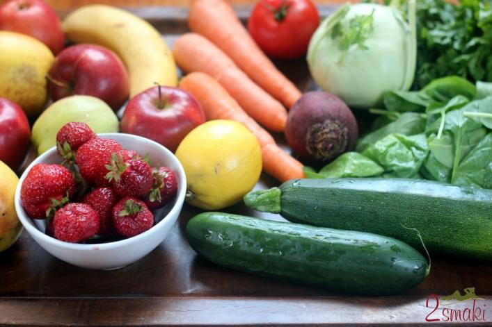 Świeże soki owocowo-warzywne składniki