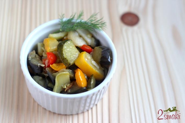 Smażony patison z warzywami