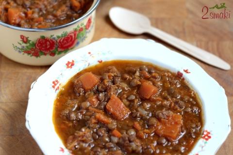 Zupa z dyni i zielonej soczewicy