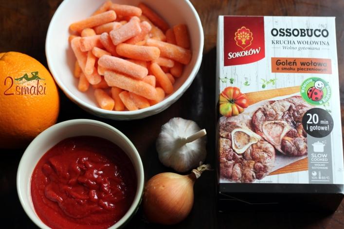 Ossobuco z sosem pomidorowym i marchewkami pomarańczowymi 1