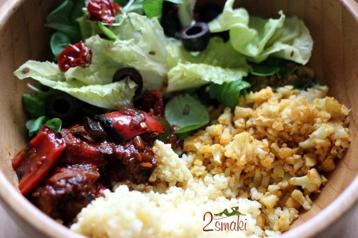Ryż z kalafiora, sałata, leczo i kasza jaglana